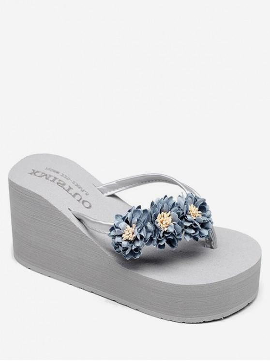 outfit Flower High Wedge Heel Thong Slides - GRAY CLOUD EU 38