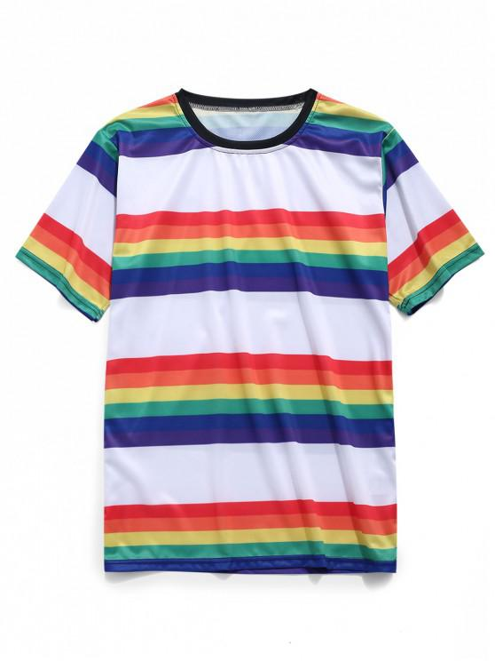 ladies Rainbow Stripes Print Short Sleeves T-shirt - RUBY RED 2XL