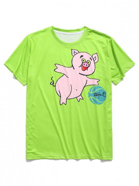 fashion Playing Ball Piggy Print Graphic T-shirt - LAWN GREEN 2XL
