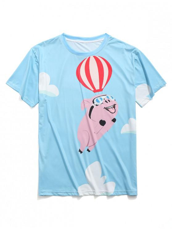 Camiseta casual con estampado de cerdo volador en globo aerostático - Cielo Azul Oscuro L