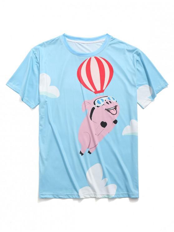 women's Hot Air Balloon Flying Pig Print Casual T-shirt - DEEP SKY BLUE XL