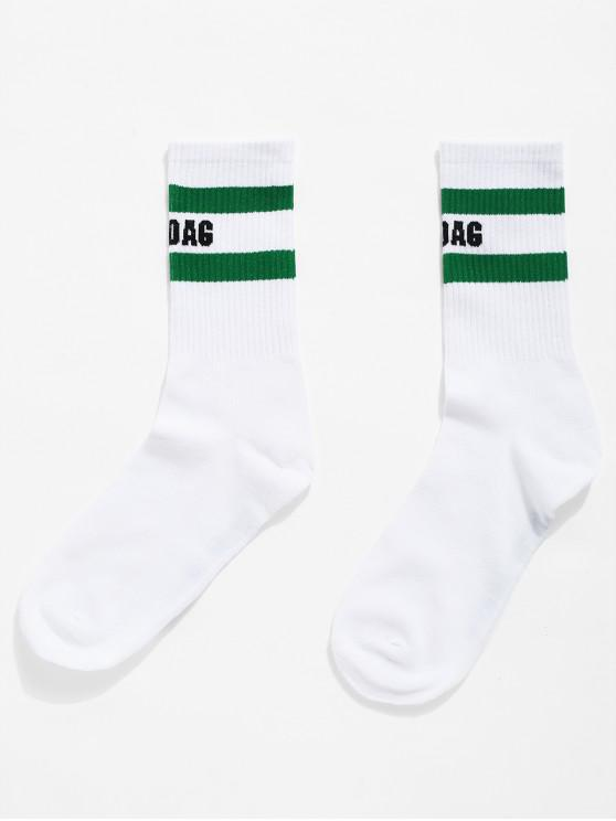 hot Graphic Striped Knit Crew Socks - CLOVER GREEN ONE SIZE