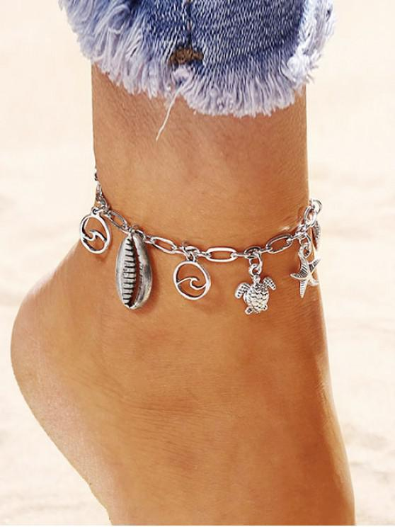 affordable Shell Starfish Turtle Charm Anklet - SILVER