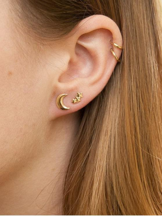 fancy Star Moon Stud and Hoop Earrings - GOLD