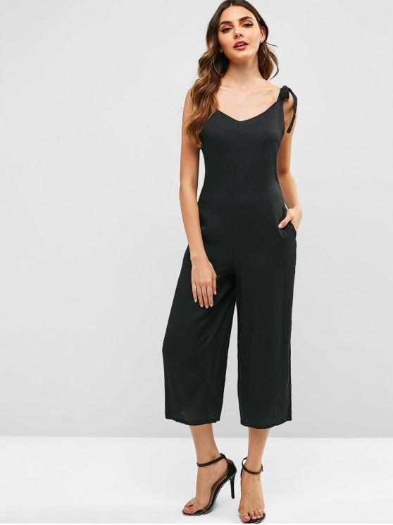fashion Tie Shoulder Wide Leg Jumpsuit - BLACK M