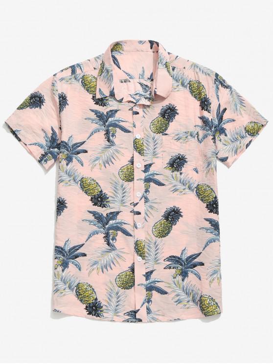 Camicia da spiaggia con stampa foglie di ananas - Sakura Pink M