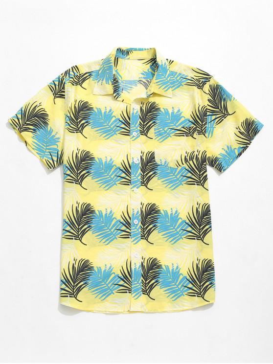 shop Tropical Leaves Print Beach Hawaii Shirt - MULTI M