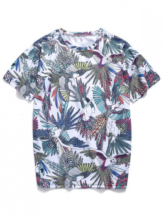chic Tropical Parrots Allover Print Beach T-shirt - BLUE GRAY L