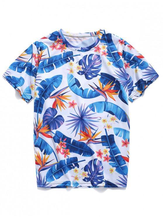 lady Tropical Leaves Floral 3D Print Beach T-shirt - BLUE IVY 4XL