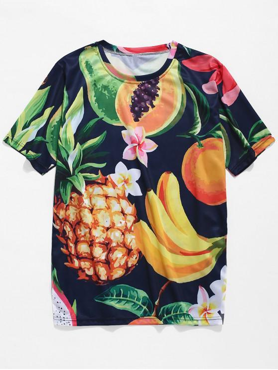 Camiseta de manga corta con estampado de frutas - Multicolor-B XL