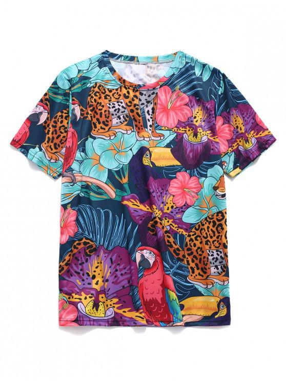 sale Animals Tropical Flowers Print Casual T-shirt - MULTI XL