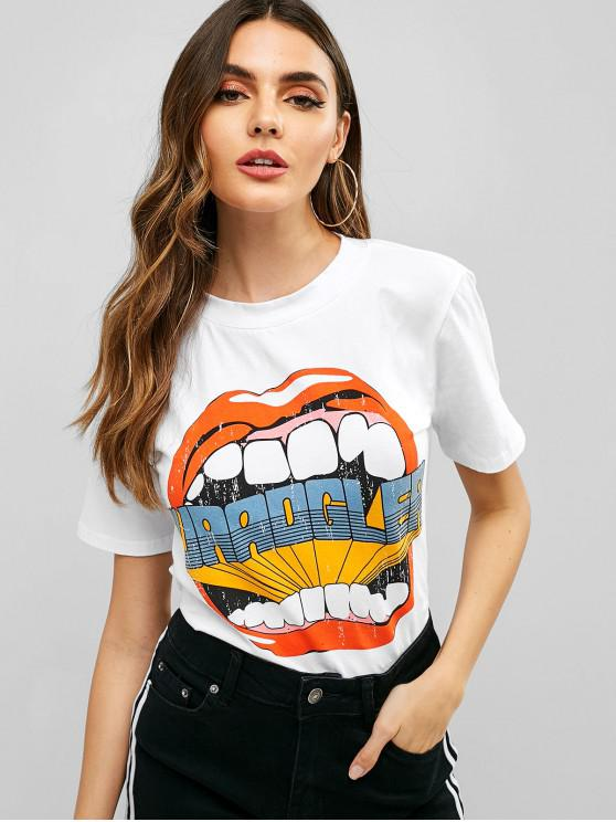 ladies Mouth Graphic Short Sleeve Tee - WHITE L