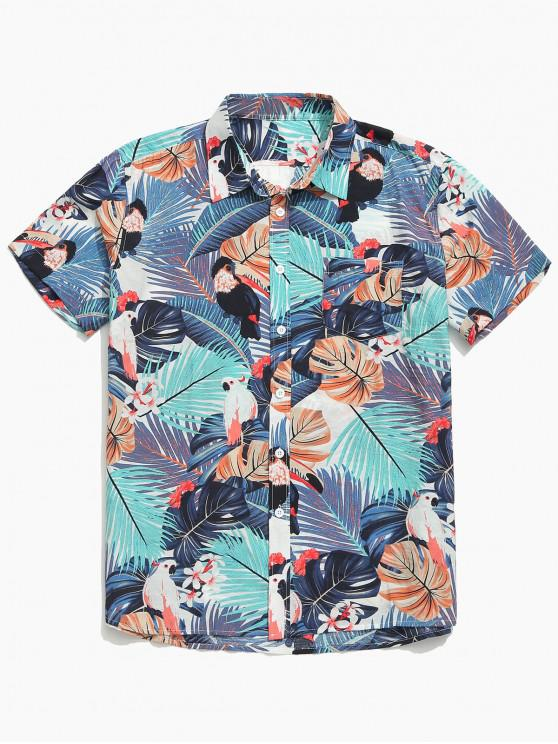 best Plant Leaves Animal Print Casual Shirt - MULTI L