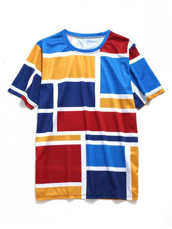 sale Color Block Geometric Print Short Sleeves T-shirt - DODGER BLUE 2XL