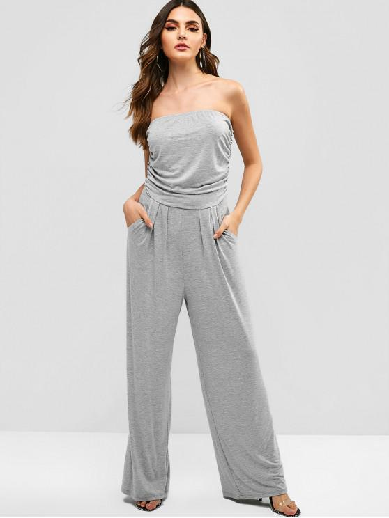 womens Pockets Strapless Wide Leg Jumpsuit - GRAY M