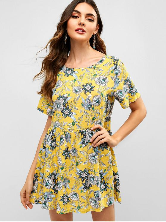 f5078dbe226c 28% OFF] 2019 Floral Print Short Sleeves Flare Dress In YELLOW | ZAFUL