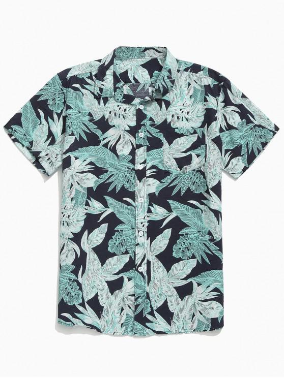 shops Plant Leaves Allover Print Beach Shirt - BLACK L