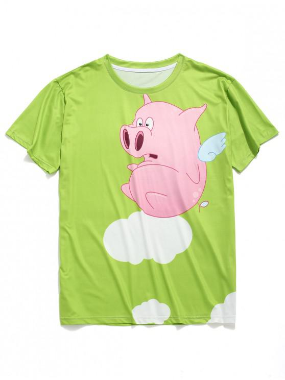 26c6c9081 11% OFF] 2019 Funny Piggy Print Short Sleeves T-shirt In TEA GREEN ...