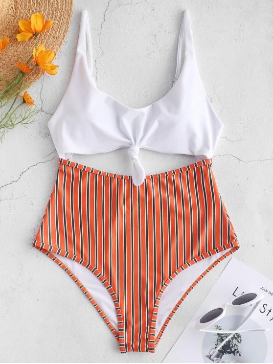 0828799ba7 22% OFF] 2019 ZAFUL Knot Stripe Cut Out Swimsuit In WHITE | ZAFUL