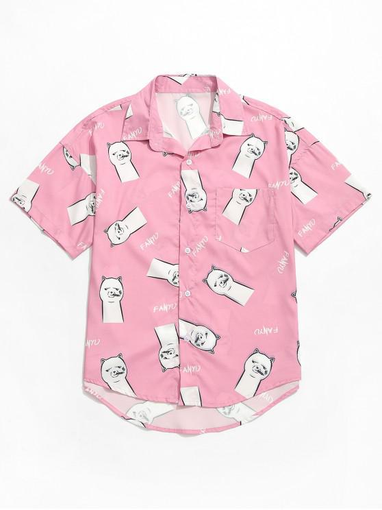 Lustiges Emoji Letters Print Kurzarm-Shirt - Rosa L