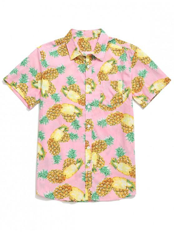 affordable Fruit Pineapple Print Beach Button Shirt - PIG PINK S