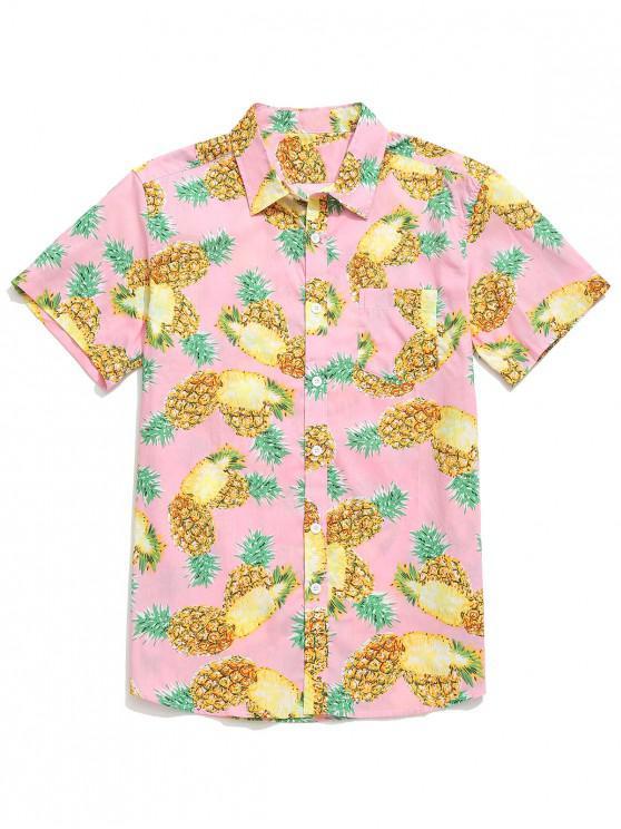women's Fruit Pineapple Print Beach Button Shirt - PIG PINK 2XL