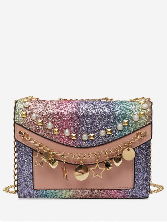 sale Glitter Star Charm Crossbody Bag - PINK
