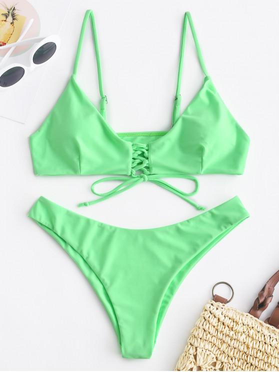 fashion ZAFUL Lace-up Neon Bikini Set - ALGAE GREEN S