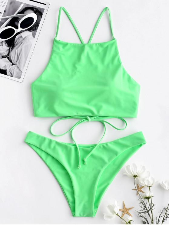 sale ZAFUL Neon High Neck Bikini Set - ALGAE GREEN L