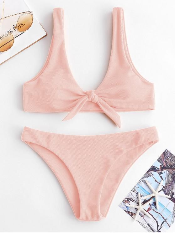 outfits ZAFUL Knot Textured Bikini Set - LIGHT PINK L