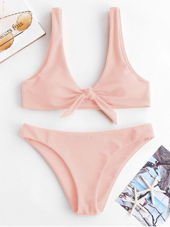2935dfac80cda 20% OFF] [HOT] 2019 ZAFUL Knot Textured Bikini Set In LIGHT PINK | ZAFUL