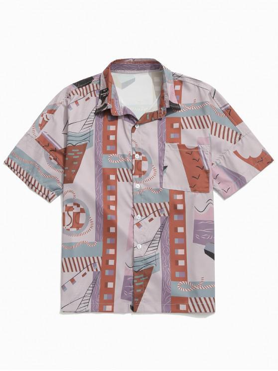 unique Geometric Graphic Printed Drop Shoulder Shirt - BROWN M