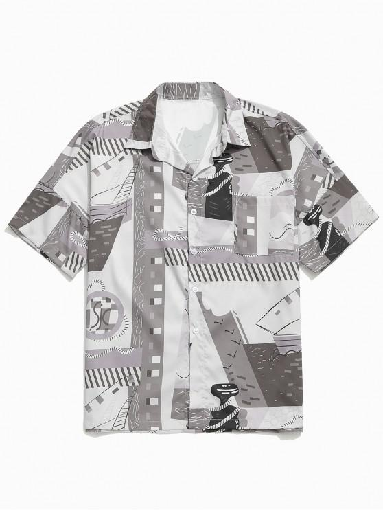womens Geometric Graphic Printed Drop Shoulder Shirt - GRAY L