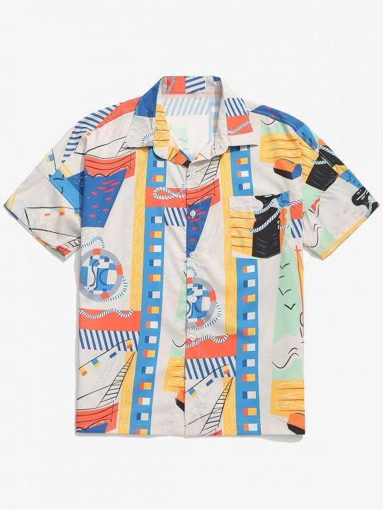 ladies Geometric Graphic Printed Drop Shoulder Shirt - WHITE M