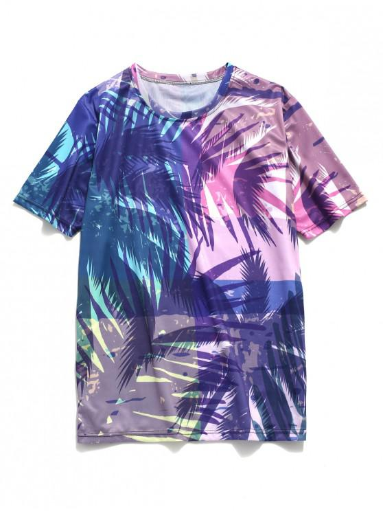 lady Coconut Palm Scenery Print Beach T-shirt - MULTI L