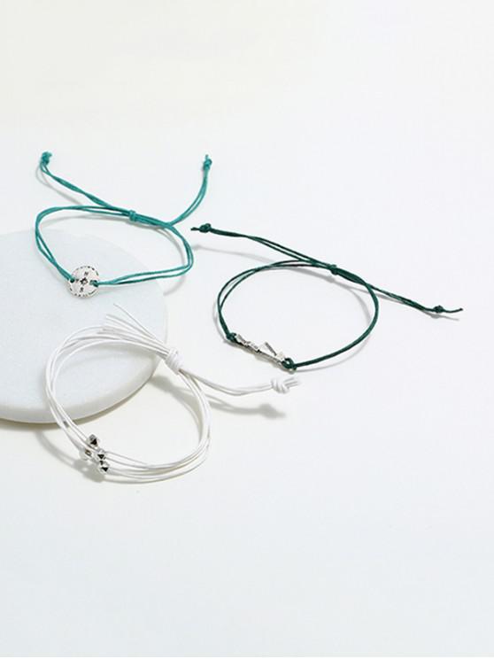 fashion 3Pcs Compass Layers Bracelet Set - GREEN