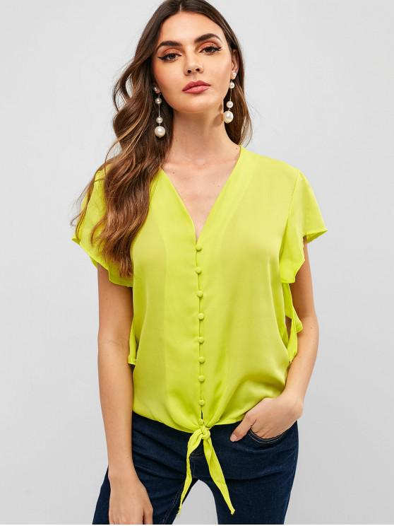 unique V Neck Knotted Hem Neon Blouse - GOLDENROD XL