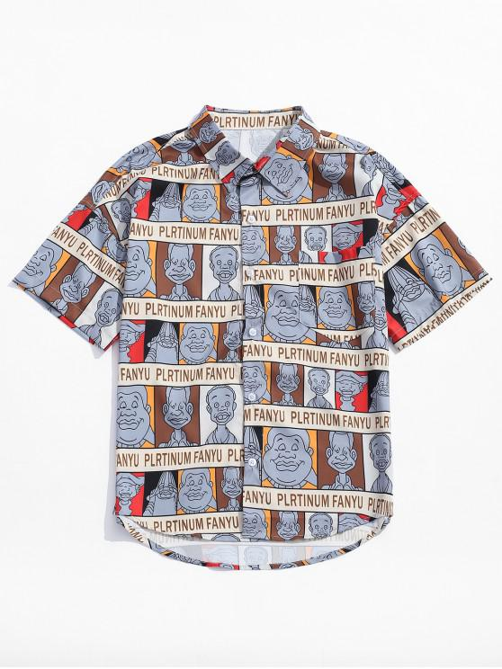 shop Cartoon Characters Letters Print Graphic Shirt - COFFEE XL
