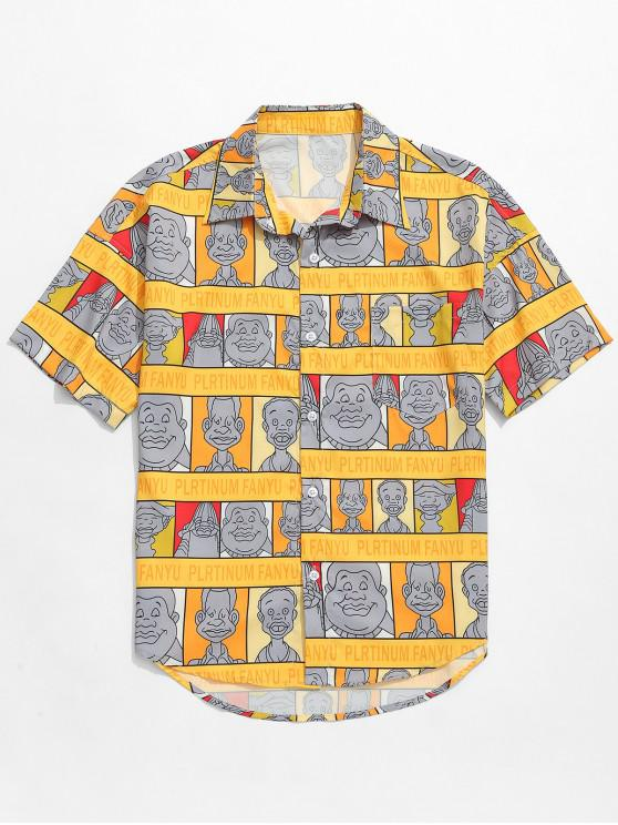 sale Cartoon Characters Letters Print Graphic Shirt - BEE YELLOW XL
