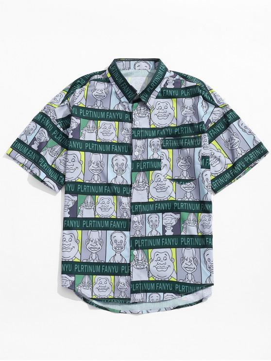 Zeichentrickfilm-Figur-Buchstabe-Druck-Grafik-Shirt - Mittleres Meer Grün L