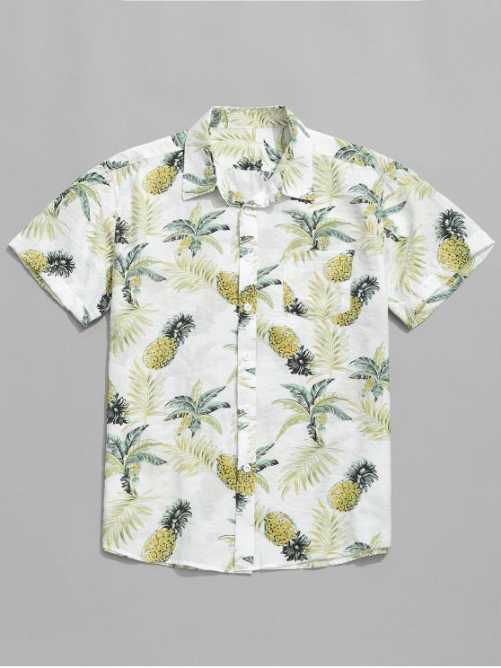 Ananas-Pflanzen-Blätterdruck-Beiläufiges Hemd - Weiß L