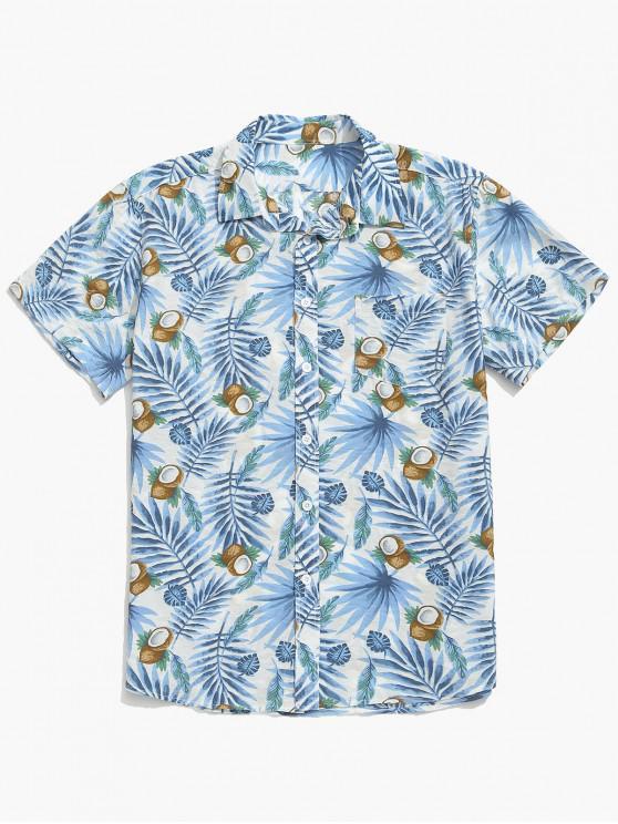 fancy Coconut and Plant Leaves Print Beach Shirt - DODGER BLUE M
