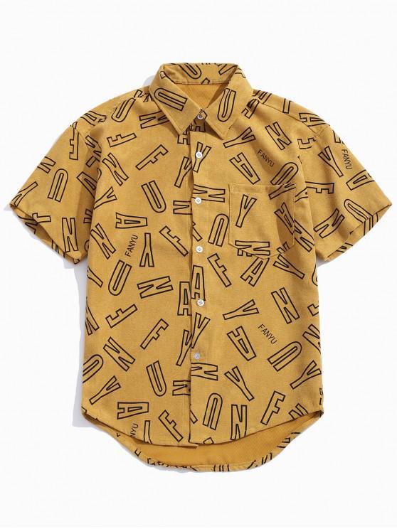 women Letters Print Casual Button Up Shirt - CINNAMON M