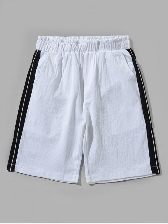 Pantalones cortos elásticos color block - Blanco XL