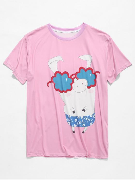 latest Funny Pig with Sunglasses Print Short Sleeves T-shirt - PIG PINK 2XL