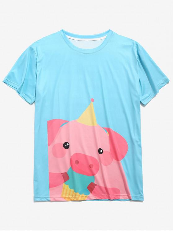 Camiseta de manga corta con estampado piggy de dibujos animados - Azul de Robin Huevo 2XL