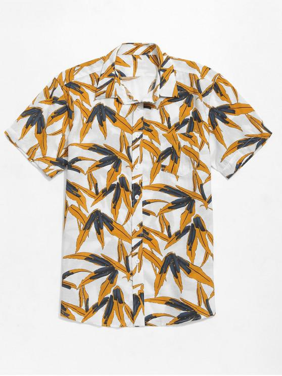 hot Plant Leaves Print Button Up Beach Shirt - MULTI S