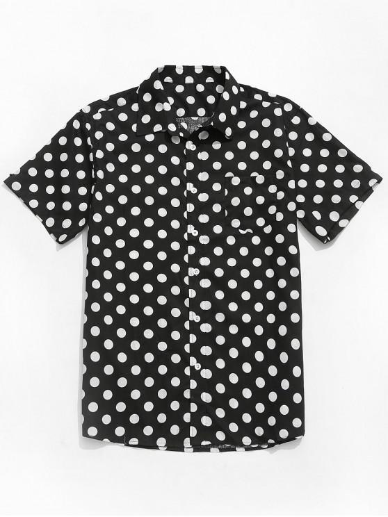 lady Polka Dots Print Short Sleeves Casual Shirt - BLACK L