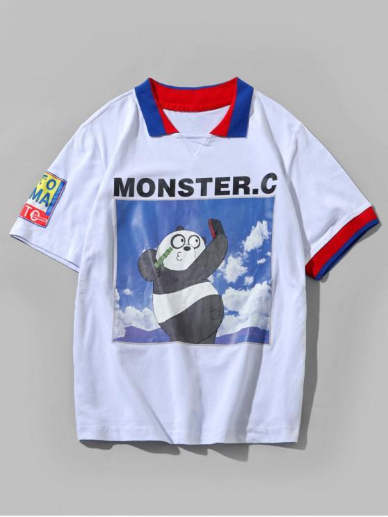 Panda Letters Print Umlegekragen-T-Shirt - Weiß L