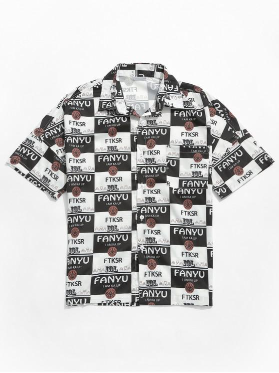 lady Letters Graphic Print Drop Shoulder Shirt - BLACK M